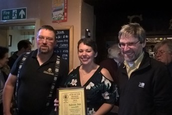 Keighley and Craven CAMRA Pubs Officer (right) presents Steve and Joanne Hodgson (left) with Pub of the Season Winter 2016 at The Falcon, Arncliffe, January 2017