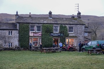 View of The Falcon, Arncliffe from the village green, January 2017