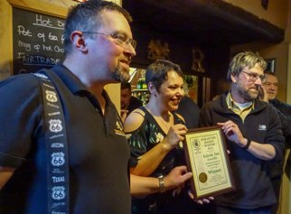 Presentation of Pub of the Season to Steve and Joanne at The Falcon, Arncliffe