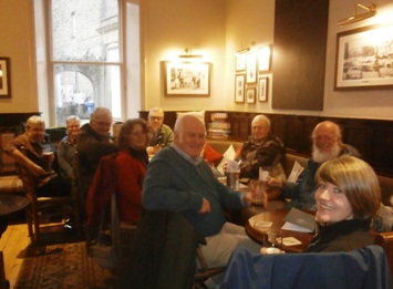 "CAMRA members in the ""Lion's Den"" at the Golden Lion, Settle during the surveying minibus trip on 19th January 2019."