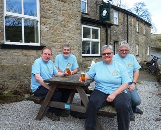 CAMRA members show off their newly purchased Skipton Beer Festival 2019 t-shirts at the White Lion, Cray during the surveying minibus trip on 16th February 2019.