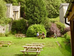 The terraced beer garden at the Talbot, Settle.