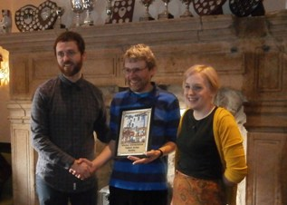 Richard Candeland presents Pub of the Season Winter 2015/6 to Russell and Rosie East at the Talbot Arms, Settle, 23rd January 2016