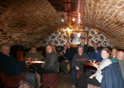 Keighley and Craven members enjoy a beer in the Merchants, Lancaster during a tour round pubs participating in the Lancaster and District Winter Ales Festival
