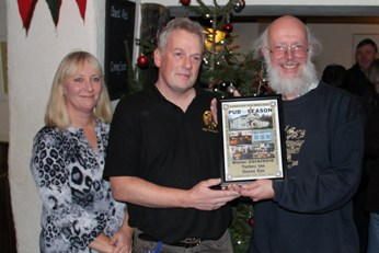 Pub of the Season Winter 2014 presentation to the Turkey Inn, Goose Eye, Keighley, December 16th 2014